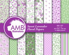 Shabby Chic papers Violet floral Papers  by AMBillustrations