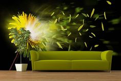 Fototapeta Dandelion 4512   Fototapety s kvetmi   TAPETYMIX Sofa, Couch, Wall Stickers, Wall Murals, Interior Design, Furniture, Home Decor, Wall Clings, Wallpaper Murals