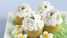In this tutorial I demonstrate how to create these gorgeous floral cupcakes in SECONDS using the 7 Russian piping tips I purchased from e-bay. For more desse. Lamb Cupcakes, Sheep Cupcakes, Farm Animal Cupcakes, Easter Cupcakes, Yummy Cupcakes, Cupcake Party, Cupcake Cakes, Cup Cakes, Panda Cupcakes