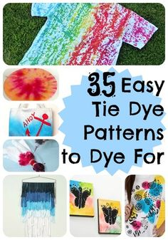 This summer, try out these 35 Easy Tie Dye Patterns to Dye For by yourself or with your kids because you have so many options for DIY tie dye fun. You can find out how to tie dye just about anything from this selection of cool tie dye patterns. Tie Dye Tips, How To Tie Dye, How To Dye Fabric, Cool Tie Dye Designs, Cool Tie Dye Patterns, Tie Dye Tutorial, Ty Dye, Tie Dye Heart, Tie Dye Crafts