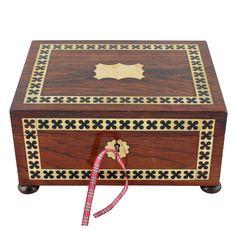 Regency Brass Inlaid Jewellery Box