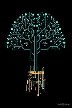 'Tech Tree' by noeldelmar Phone Wallpaper Design, Graphic Wallpaper, Dark Wallpaper, Hi Tech Wallpaper, Fullhd Wallpapers, Gaming Wallpapers, Graphic Design Illustration, Digital Illustration, Hacker Wallpaper