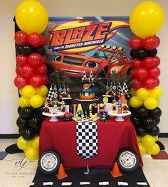 Disney Cars Birthday, Birthday Themes For Boys, Cars Birthday Parties, Birthday Party Decorations, Festa Monster Truck, Monster Truck Birthday, Monster Trucks, Blaze And The Monster Machines Cake, Blaze Cakes