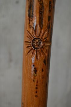 Flower Carved Walking Stick, Hickory Hiking Staff