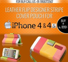 Leather Flip Designer Stripe Cover Pouch For Apple iPhone 4 & Accessories Online, Iphone Accessories, Buy Iphone, Apple Iphone, Pouch, Cover, Leather, Stuff To Buy, Design
