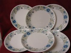 Wedgwood China Dinnerware England Clementine Pattern # R4444 set 6 bread plates