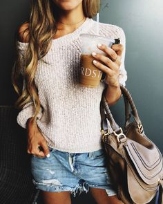 sweater and ripped denim