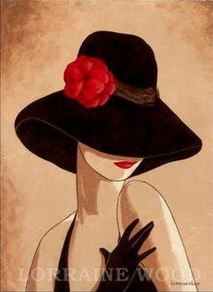 Sombreros-Lorena Dell Wood Glamour Brown con el sombrero rojo de la flor