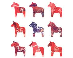 Cavallo di Dala svedese stampa 8x10 scandinavo di redstuga