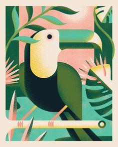 Nursery Room Art Vida Tropical Gardens in Post Nor Art And Illustration, Graphic Design Illustration, Animal Illustrations, Illustrations Posters, Tropical Artwork, Tropical Posters, Tropical Paintings, Geometric Bird, Jungle Art