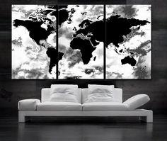 Large 30x 60 3 panels 30x20 ea art canvas print world map black large 30x 60 3 panels art canvas print beautiful world map black gumiabroncs Images