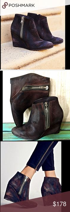 """Free People  brown suede Zip Wedge Ankle Boots 7 Free People distressed brown suede Outside Zip Wedge Ankle Boots   distressed suede wedge ankle boots / booties featuring a pointed toe, wedge heel & thick outside zipper New In Box  *  Size:  37  * these boots fit True To Size  measures: 3.5"""" wedge 9.5"""" top opening 3.75"""" shaft Free People Shoes Ankle Boots & Booties"""