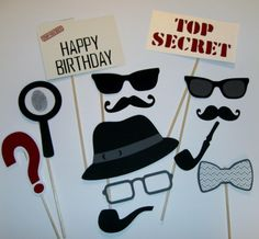 Included in your package of props... 13 designed props for your detective party. These would be great photo props for kids or adults. Hat,
