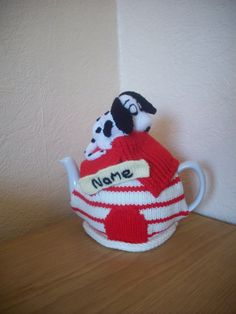 Knitted Tea cosy cosie Dalmatian Kennel Personalised with Name, Shabby Chic Knitted Tea Cosies, Teapot Cover, Tea Cozy, Dalmatian, Cosy, Pet Dogs, Coasters, Cup Cozies, Shabby Chic