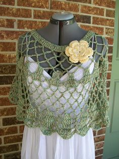 Summer Openwork Circle Poncho, Capelet, Shoulder Wrap with Flower Pin, - Upcycled/Repurposed Cotton Rayon Yarn
