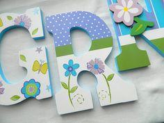 "Custom Painted Wooden Letters, Nojo  Dreamland Theme 9"" Nursery Letters by ArtByGillian"