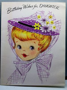 UNUSED Birthday Card Vintage Greeting Lustre Lane Daughter Pretty Girl Purple