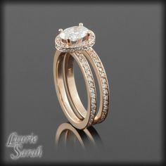 Oval Diamond Wedding Set in 14kt Rose Gold with side halo and eternity bands - LS848