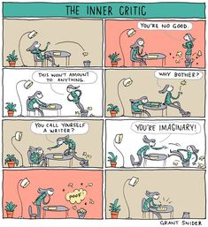 The Inner Critic... #writing #amwriting #writerslife #WritingCommunity #writers #authors June 18th, July 6th, The 5th Of November, Writing Resources, Writing Memes, Grammar Humor, Critic, Comics, Ny Times