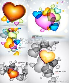 Five-colored heart-shaped pattern vector