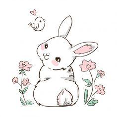 Cute Bunny Cartoon, Cute Cartoon Animals, Kawaii Bunny, Bunny Drawing, Bunny Art, Bunny Painting, Cartoon Sketches, Cartoon Styles, Cute Animal Drawings