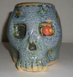 Handmade Green Skull Mug Cup WIth Serpent Handle Judhe Jensen of Topeka Kansas