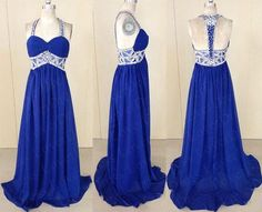 vestido de fiesta Cheap Prom Dresses 2014 Real-images Royal Blue Long/Floor length Open Back Beading Evening Dresses
