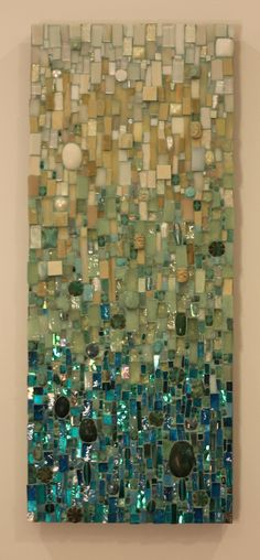 A commissioned mosaic piece . custom mosaic wall art by Ariel Shoemaker. It looks like there could be dichroic glass, especially at the bottom. Glass Wall Art, Stained Glass Art, Mosaic Glass, Mosaic Tiles, Mosaic Mirrors, Mosaic Bathroom, Mosaic Wall Art, Blue Mosaic, Bathroom Wall