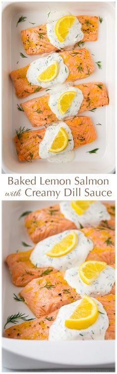 Baked Lemon Salmon with Creamy Dill Sauce - this salmon is AWESOME and it's totally healthy! The dill sauce is mighty tasty Fish Recipes, Seafood Recipes, Cooking Recipes, Healthy Recipes, Sauce Recipes, Recipies, Seafood Meals, Baked Salmon Recipes, Cooking Food