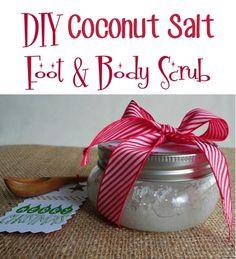 DIY Coconut-Salt Foot and Body Scrub! such a fun mason jar g.- DIY Coconut-Salt Foot and Body Scrub! such a fun mason jar gift idea! DIY Coconut-Salt Foot and Body Scrub! such a fun mason jar gift idea! Diy Body Scrub, Diy Scrub, Bath Scrub, Homemade Scrub, Homemade Gifts, Homemade Facials, Mason Jar Gifts, Mason Jars, Diy Spa