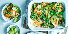 Coconut fish curry traybake