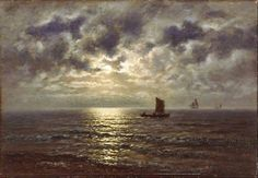 """Fishing boats on the sea by the light of a full moon"" ""Fiskerbåde på søen i fuldmåneskær"" (1884) By Wilhelm Ferdinand Xylander, Danish Artist (1840 - 1913) - oil on canvas; 37 x 52 cm - © Skagens Museum, Skagen, Denmark"