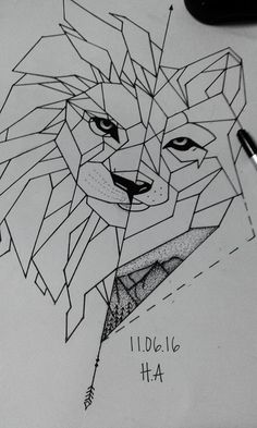 Geometric Wolf & Lion