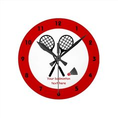 Badminton gifts, racquet and shuttlecock custom wall clock. #badminton, #red, #racquet, #shuttlecock, #wallclock