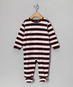Look what I found on #zulily! Pink & Brown Stripe Velour Footie - Infant by Leveret #zulilyfinds