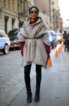 Liz Coicou in VINTAGE Navajo poncho coat, red buffalo check shirt, and black FRYE boots.