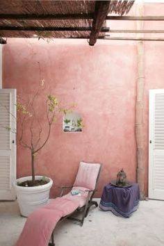 back deck: color pink walls would look so nice lit at night and the batton roof for shade Color Inspiration, Interior Inspiration, Outdoor Spaces, Outdoor Living, Murs Roses, Deco Rose, Stair Walls, Pink Houses, Pink Walls