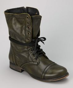 OMG , I want these... Look what I found on #zulily! Green Troopa Leather Boot #zulilyfinds