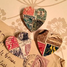 These cute wooden heart brooches are decorated with old postage stamps from around the world. The brooches measure approximately 4cm by 3.5cm.    100% handmade.    Click image to enlarge.