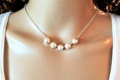 TIMELESS PEARLS, swarovski necklace, 8mm, five stone, bracelet, earrings,bridal, dksjewelrydesigns