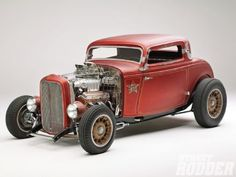 The Fender Less, 1932 Ford Three-Window Coupe. Rat Rods, Traditional Hot Rod, Classic Hot Rod, 1932 Ford, Sweet Cars, Us Cars, Street Rods, Custom Cars, Custom Trucks
