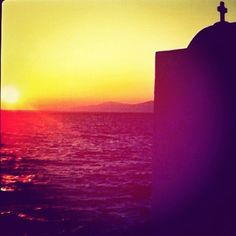 sunset in mykonos- greek island