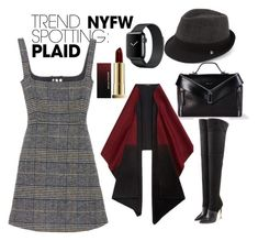 """""""Trendspotting: Plaid"""" by simbarosse ❤ liked on Polyvore featuring Block Headwear, Diesel, AlexaChung, Lafayette 148 New York, Balmain, Kevyn Aucoin, contestentry and NYFWPlaid"""