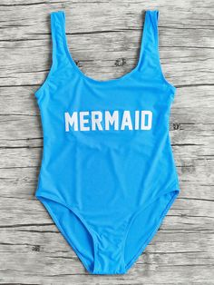 SheIn offers Letter Print Scoop Neck Beach Swimsuit & more to fit your fashionable needs. Pin Up Swimwear, Swimwear Cover Ups, One Piece Swimwear, Bikini Swimwear, One Piece Swimsuit, Monokini Swimsuits, Blue Swimsuit, Modest Swimsuits, Cute Swimsuits