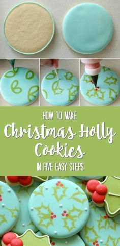 50 Christmas Cookies: Holly Cookies Start celebrating the holidays and make some delicious Christmas cookies for your family! These Christmas cookies are not only delicious but also very festive - perfect to put you in the holiday spirit! Christmas Biscuits, Christmas Sugar Cookies, Christmas Sweets, Christmas Cooking, Noel Christmas, Holiday Cookies, Christmas Design, Christmas Cupcakes, Halloween Cookies
