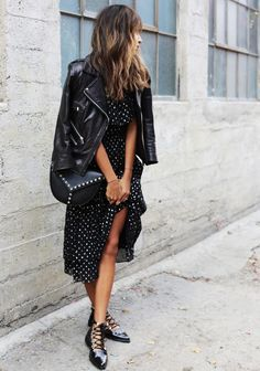 black midi dress and leather jacket
