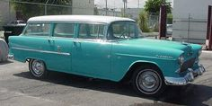 1955 Chevy Townsman Station Wagon, bought for $150. Blew a rod. My original 'surf wagon'.    (Not my actual car, but I owned one just like it.)