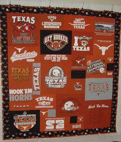 University of Texas Longhorn T-Shirt Quilt