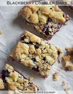 Blackberry cobbler bars can be made even when blackberries are not in season. Substitute the fresh berries for jam and enjoy!