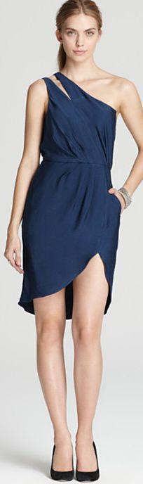 BCBGeneration Dress - Pleated One Shoulder Slit